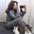 Aberturas de malha canelada dois terno tricô wide-legged calças terno de lã casaco feminino