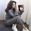 Vents of rib knit two female suit knitting wide-legged pants suit wool coat