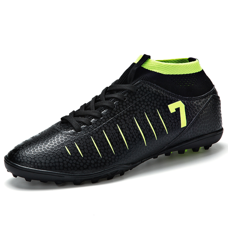 ZHENZU New Men Black Soccer Shoes Football Boots Boys Soccer Cleats Socks Sneakers Size 35 44 High Quality Dropshipping Number 7|Soccer Shoes| |  - title=
