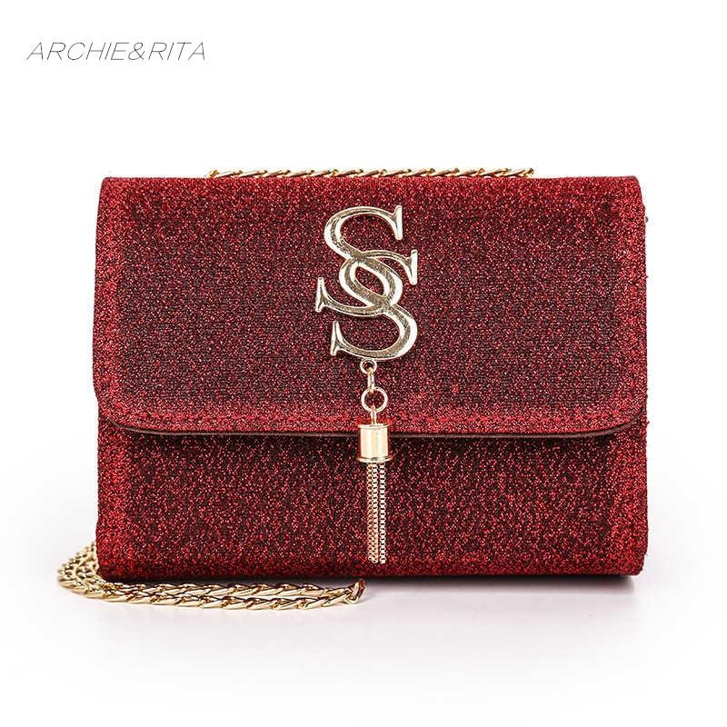 ARCHIE&RITA Fashion Luxury Sequin Bag Women Double S Letter Red Tassel Bag Chain Female Mini Evening Shoulder Bags Girls Bags