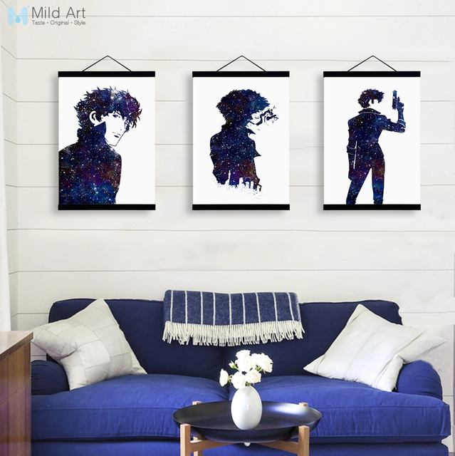 Modern Watercolor Japanese Anime Cowboy Bebop Wooden Framed Canvas