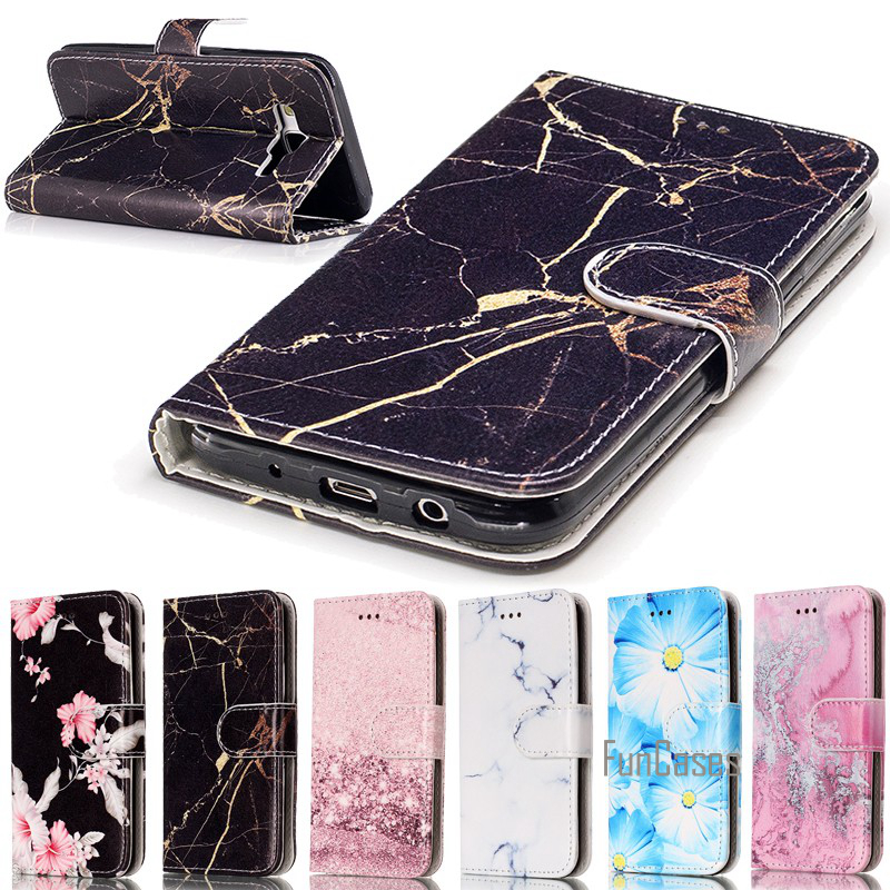Capinhas Para Etui For Samsung Galaxy A5 2017 2016 A510F A510M Case Cover Leather Wallet Case Marble Flower Butterfly Coque Capa