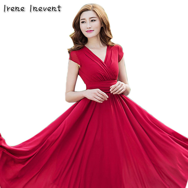 f8d0ab3848 Irene Inevent Elegant Red Short Sleeves Ukraine Dress female 2017 Sexy Long  Women Formal evening party dress cheap clothes china