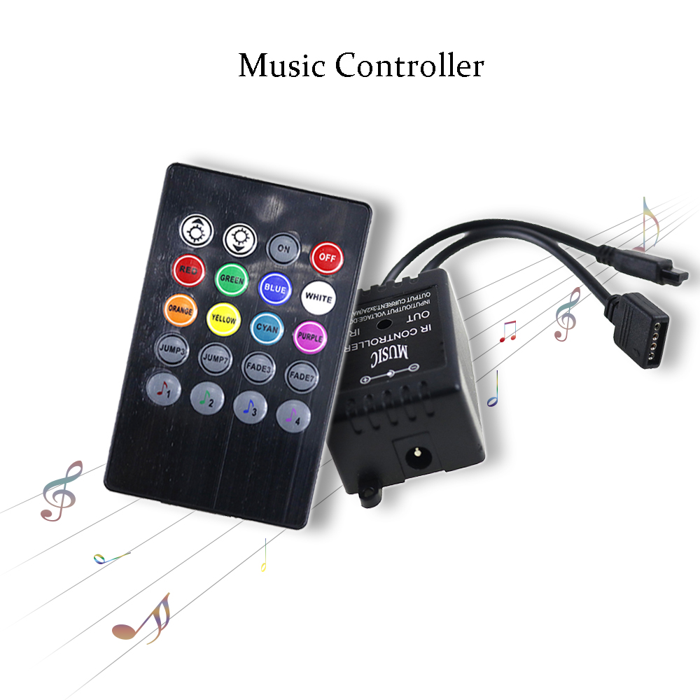 Led Ir Music Rhythm Controller Dc12v 6a 20 Keys Ir Remote Control Voice Sensor For 3528 5050 Rgb Led Strip Home Party Jq Sturdy Construction