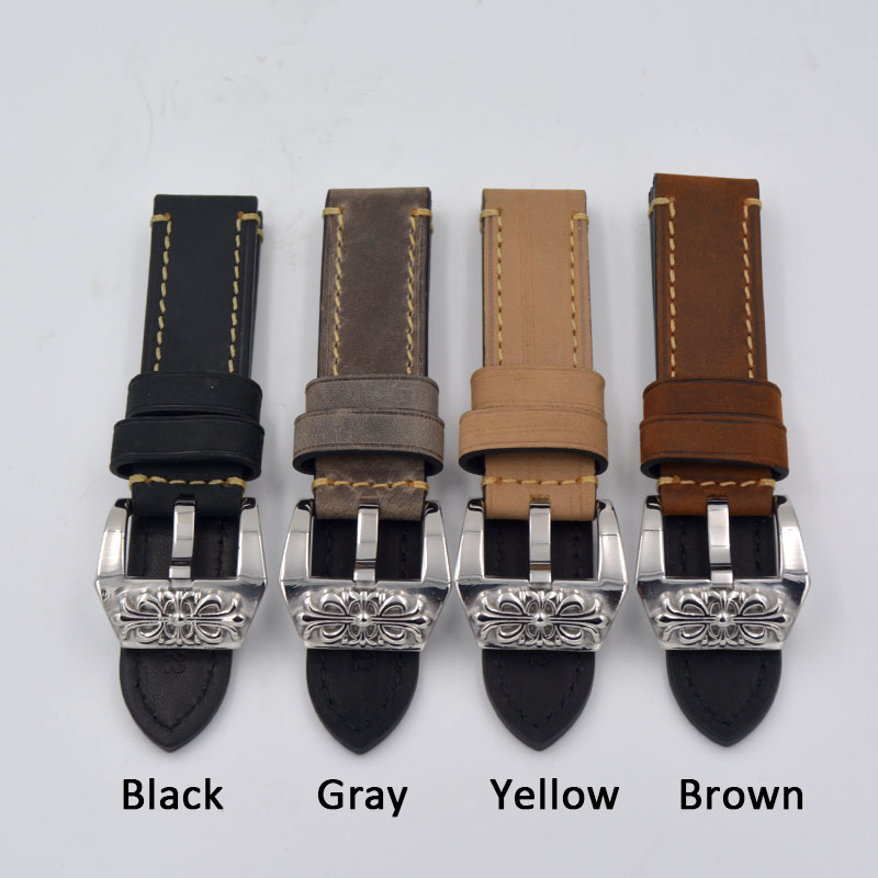 20mm 22mm 24mm 26mm Watch band For panerai Vintage Brown Gray Yellow Black Genuine Leather Watchband Strap For Big Watch high quality 20mm 22mm 24mm leather watch strap man watch straps black brown gray stainless steel buckle thick line watch band