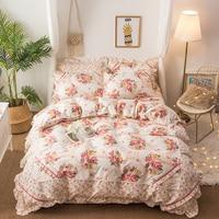 4Pcs Pink Blue Floral print Korean style Bedding set Queen size soft bedclothes Bed sheet set Duvet cover Pillowcases
