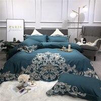 80 S Египетский хлопок синий розовый белый роскошный серебристый Королевский набор постельного белья с вышивкой пододеяльник кровать засте