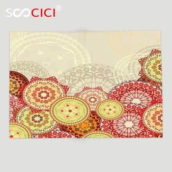 Custom Soft Fleece Throw Blanket Mandala Decor Collection Various Size Colorful Mandala Patterns Indian Spiritual Symbol