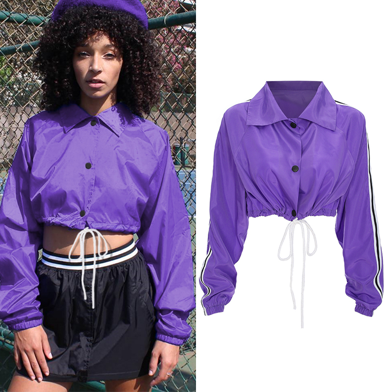 Rockmore Windbreaker   Jacket   Women Spring 2018 Crop Bomber   Jacket   Long Sleeve   Basic   Drawstring Button Autumn   Jacket   Women Slim