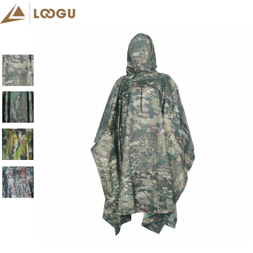 Militare PU Camo Poncho Leggero Sport all'aperto multifunzionale Impermeabile Raincover Impermeabile Cyclin Arrampicata Escursionismo
