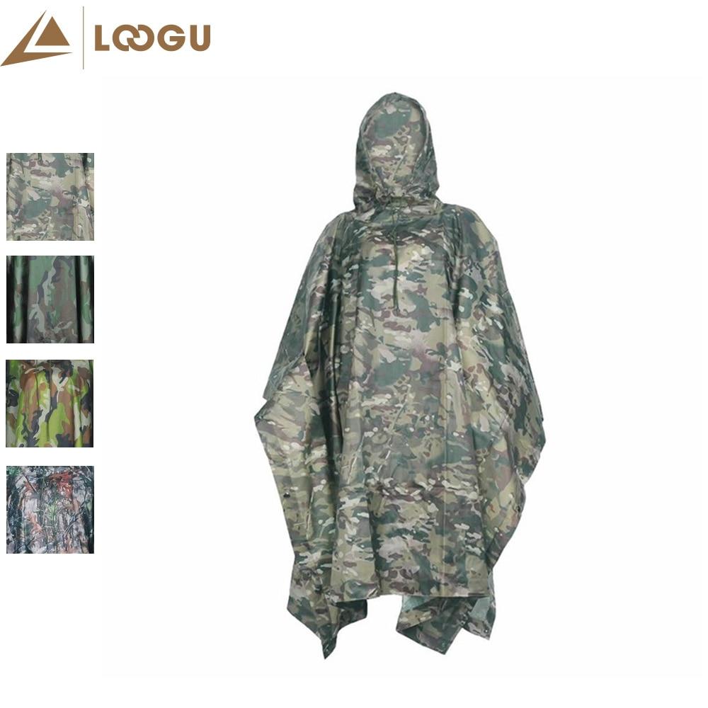 Militar PU Camo Poncho Ligthweight Multifuncional Deporte Al Aire Libre Impermeable Impermeable Raincover Cyclin Escalada Camping Senderismo