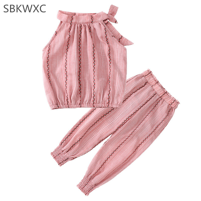 2018 Girls Fashion Clothing Sets Girls Clothes Kids Clothing Sets Striped Sleeveless Tops+Lantern Pant 2Pcs Clothes Suits 4-9T ...