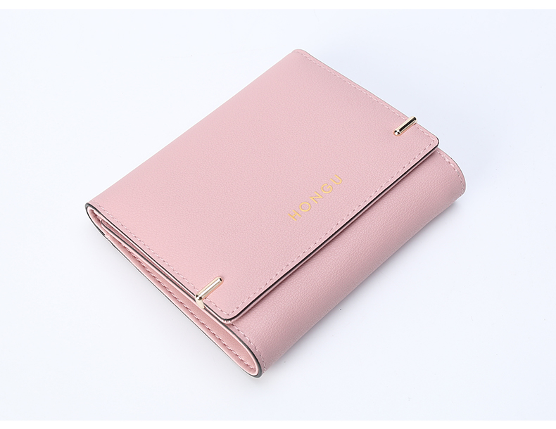 HONGU Wallet female short paragraph 2018 new fashion wild leather small coin purse multi-card three-fold buckle wallet E