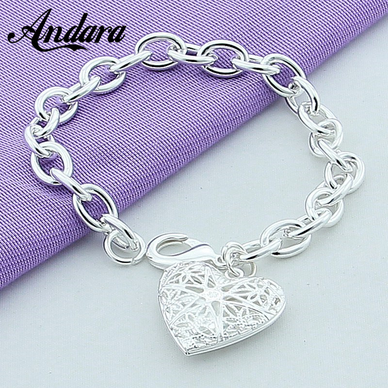 Silver Heart Shape Photo Bracelets