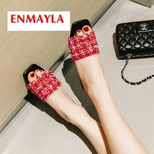 ENMAYLA 2019  Cotton Fabric Basic Casual Solid Round Toe Women Summer Fashion Slippers Size 34-43 LY1998