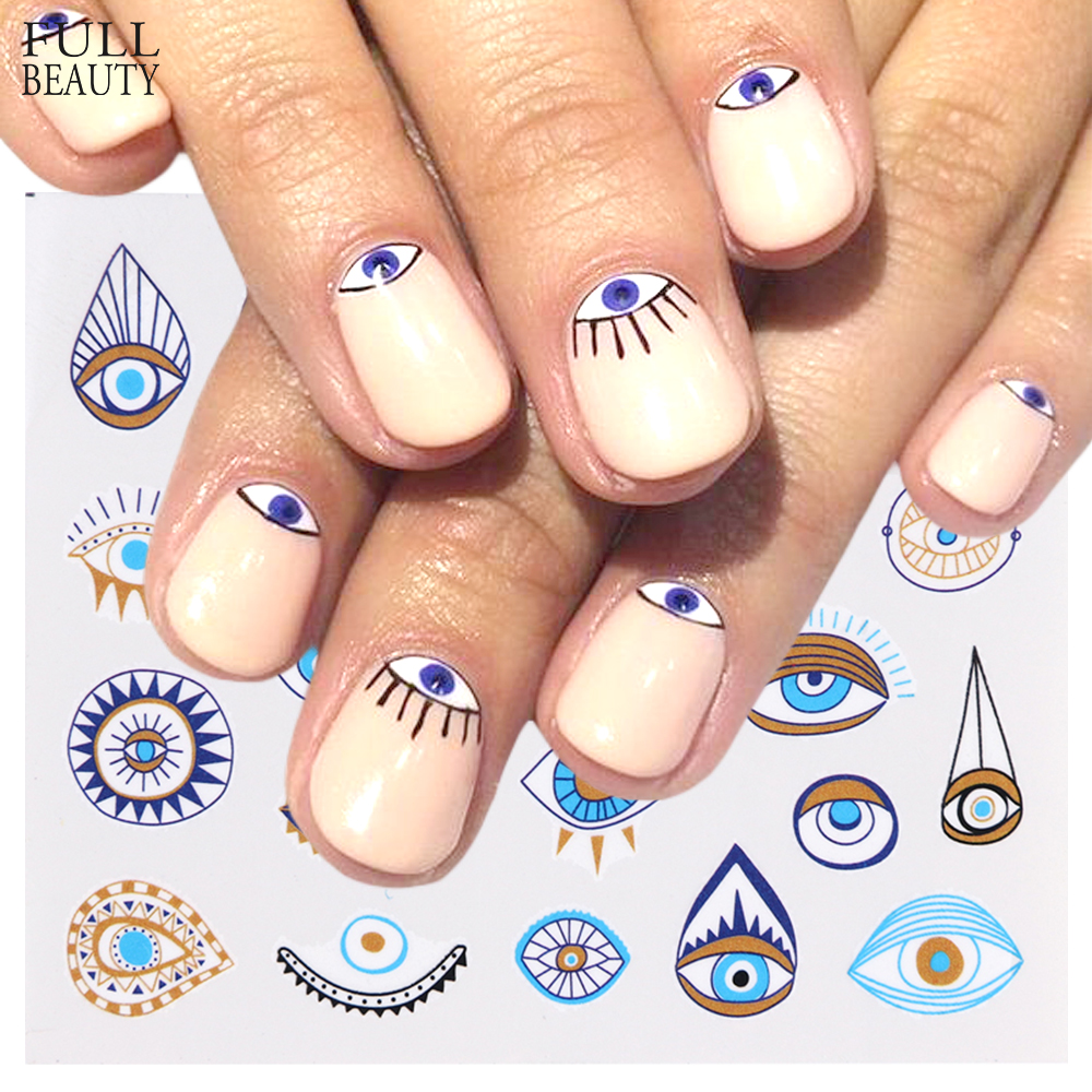 1pc Eye Series Water Transfer Slider for Nail Art Decorations Charming Sticker Nail Manicure Tattoos Foil Decals CHSTZ818 823-in Stickers & Decals from Beauty & Health