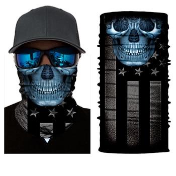 BJMOTO Moto Magic 3D Seamless Balaclava Scarf Neck Face Mask Ghost Skull Skeleton Head Bandana Shield Headband Headwear Bandana 3d seamless neck buff bandana face mask camouflage motorcycle ghost skull face halloween bandana scarves