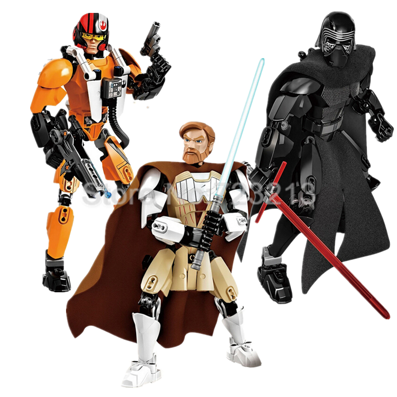 Star Wars Single Sale Poe Dameron Figure Kylo Ren Obi-Wan Kenobi Building Blocks starwars Set Model Bricks Toys for Children single sale star wars superhero orca shark series building blocks model bricks toys for children brinquedos menino