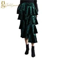 Ruffles Asymmetrical Velvet Women Skirts Split Fork Elastic Waist Medium Long Ladies Skirt Autumn Winter Fashion