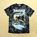 Nueva versión thrasher clothing camisetas hombres mujeres hip hop de la marca de algodón de alta calidad de la manera tie-dye thrasher patineta camisetas