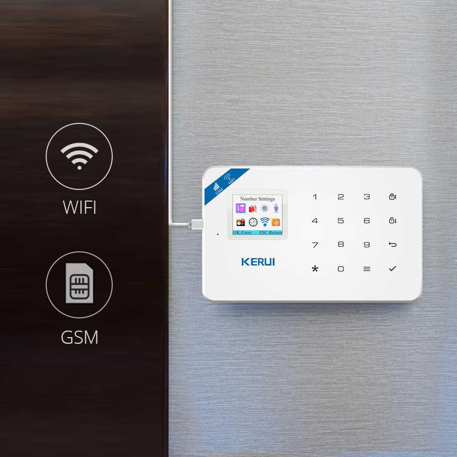 KERUI W18 1.7 inç TFT ekran WIFI GSM ev hırsız güvenlik alarmı sistemi hareket dedektörü APP kontrol yangın duman dedektörü alarmı