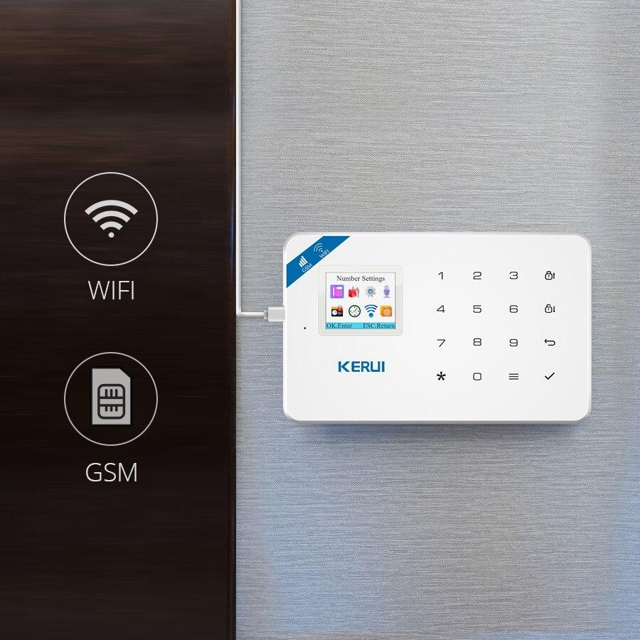 KERUI W18 pantalla TFT de 1,7 pulgadas WIFI GSM antirrobo casa Sistema de alarma de seguridad Detector de movimiento de la aplicación de Control de fuego Detector de humo alarma - 2