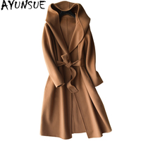 AYUNSUE Women Wool Coat Hooded 2018 Casual Long Cashmere Coats With Belt Autumn Winter Female Jacket manteau femme hiver WYQ1241