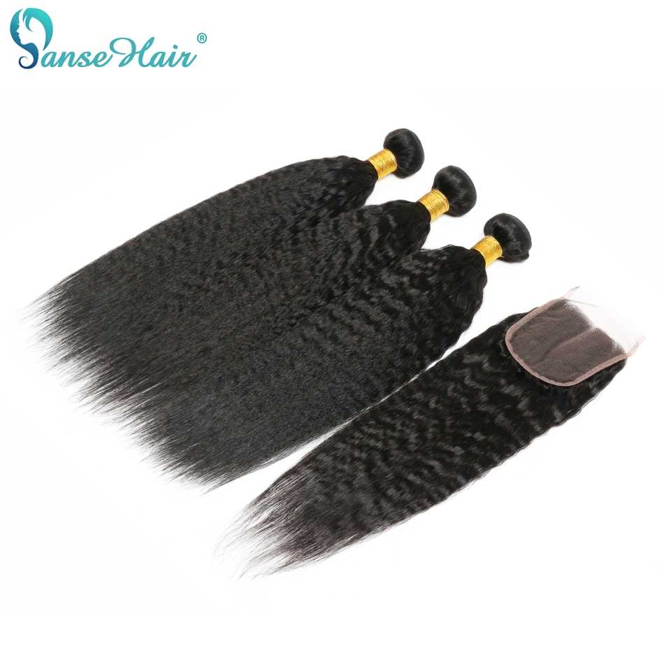 Panse Hair Kinky Straight Indian Hair Weave Bundles With Closure Human Hair 3 Bundles With Closure Non Remy Coarse Yaki