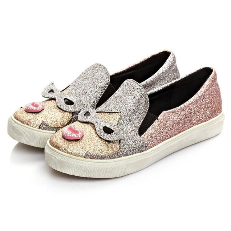 2016 New Spring font b Women b font Loafers Casual Flats Heels Round Toe Pink Red