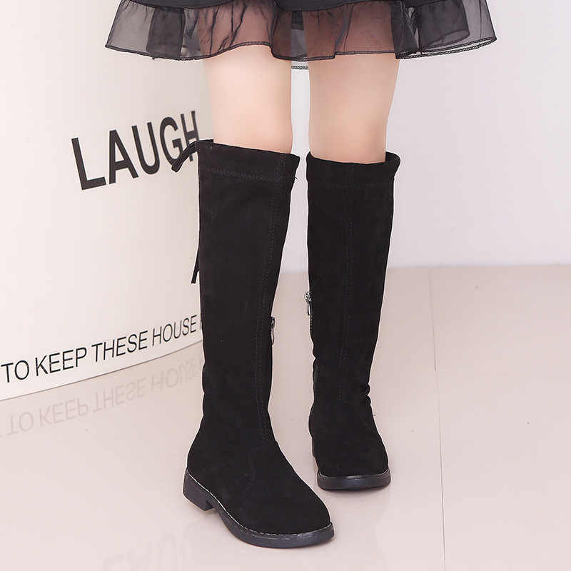 Girls Knee,high Long Boots Princess Fashion Spring Winter Boots Black Red  Brown Size26,37 Casual Children Footwear Vintage Shoes