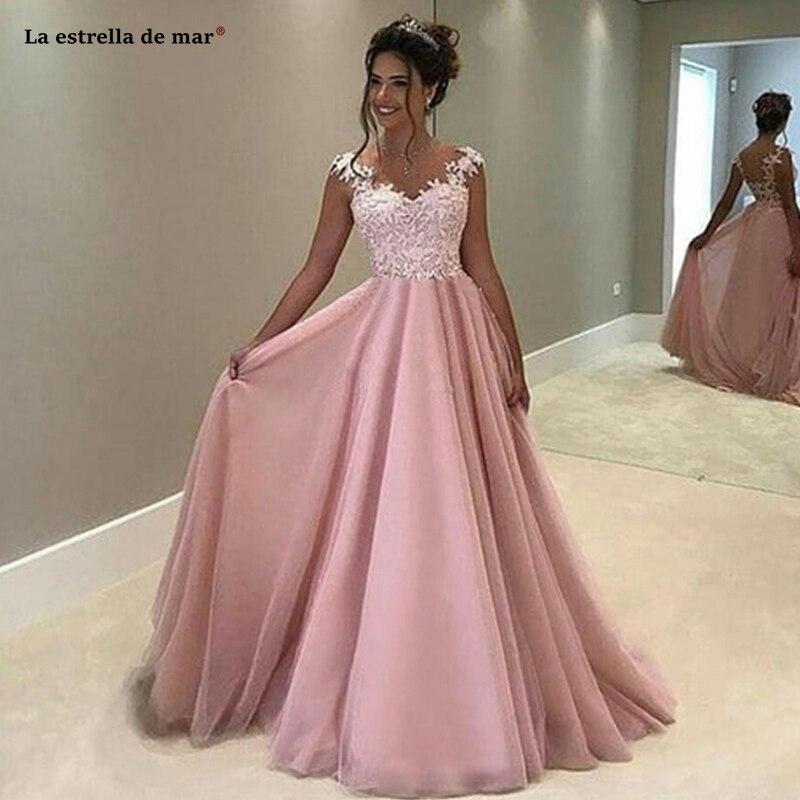 Robe Rose Pour Mariage2019 New Lace Cap Sleeve ALinerobe De Demoiselle D'honneur Pour Mariage Long Vestidos Boda Invitada