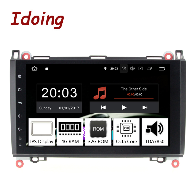 Idoing 98Core 2Din Andriod9.0 Car Radio GPS DVD Multimedia Player 4G+32G For MercedesBenz A Class&B Class IPS Screen Navigation