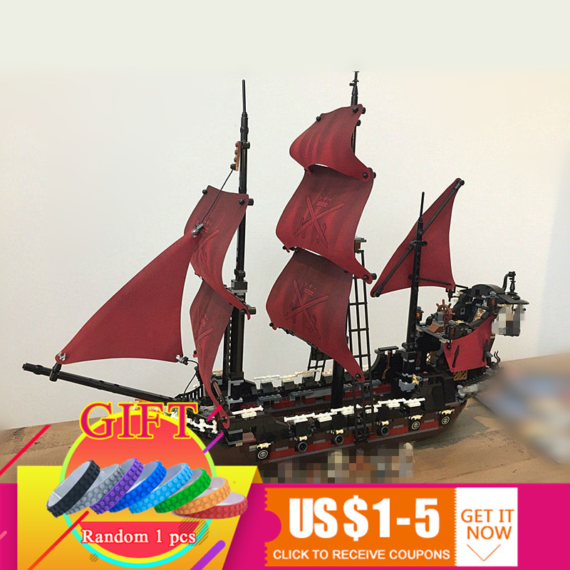 16009 1151pcs Queen Anne's revenge Pirates of the Caribbean Set Compatible with 4195 Building Blocks toys lepin 16009 caribbean blackbeard queen anne s revenge mini bricks set sale pirates of the building blocks toys for kids gift