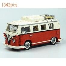 цена на Model Building Kit Brick Toy Compatible with Camper Blocks 1354Pcs Create Series Creator Touring Car Volkswagen T1
