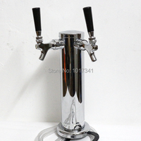 3 Stainless Steel Body Dual Tap Beer Tower 1 4 Beer Line Include Mounting Hardware And