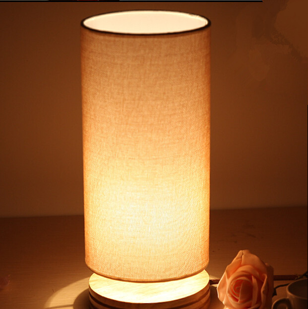Modern table lamp wood light led light Cloth lamp cylindrical ...