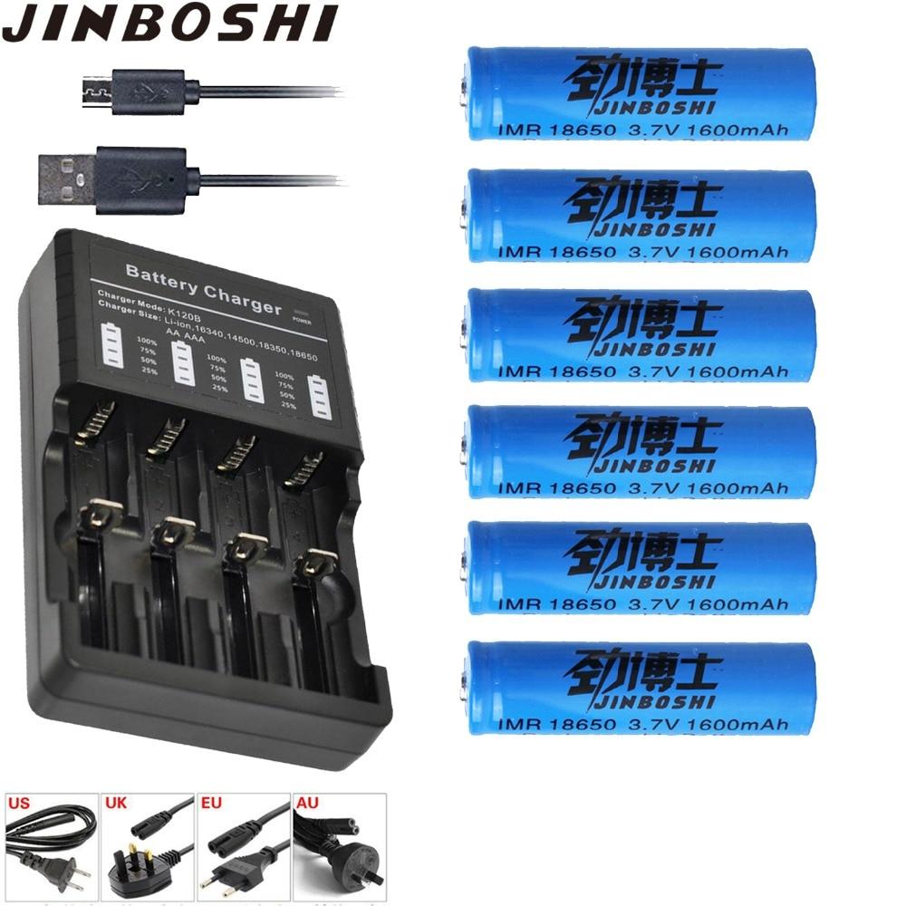 6pcs/lots 18650 3.7V Rechargeable 18650 Li Ion Battery 1600mAh + 1 pcs 18650 16340 CR123A Battery Charger for flashlight