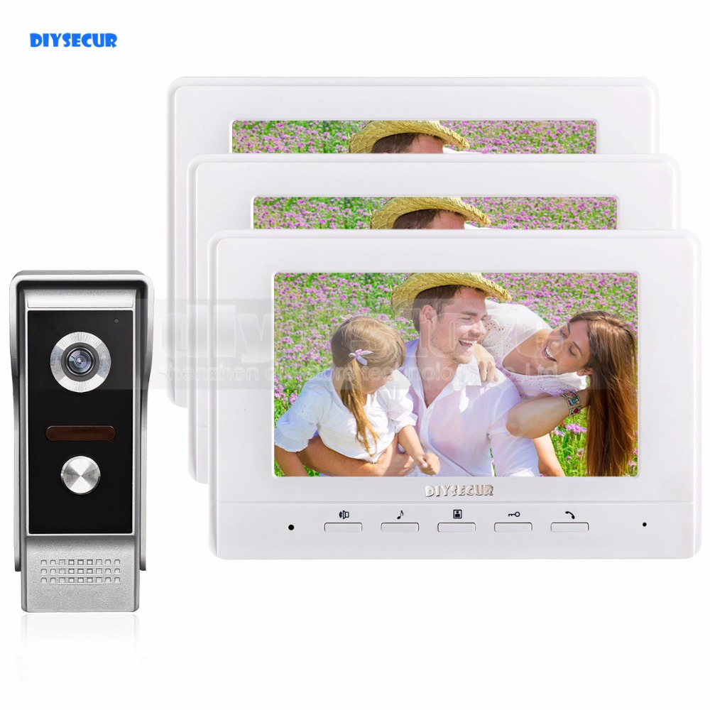 DIYSECUR 7inch Video Intercom Video Door Phone 700TV Line IR Night Vision Outdoor Camera for Home / Office Security System 1V3