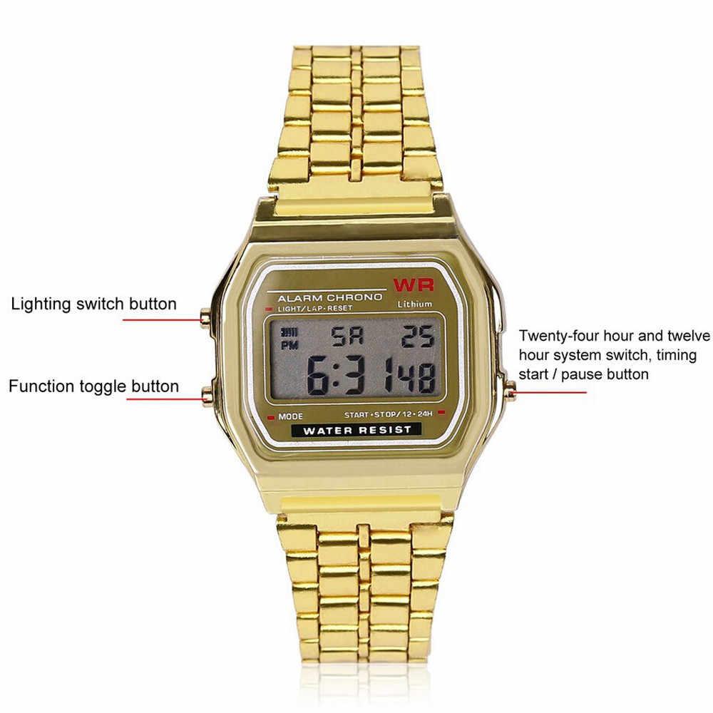 Мужские Роскошные брендовые винтажные Wo мужские s из нержавеющей стали цифровой таймер с сигналом наручные часы Электроника наручные часы горячие часы #8