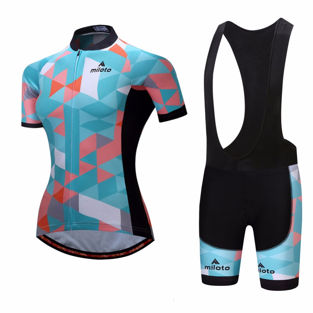 Reflective Ciclismo Womens Cycling Jersey & Black Spandex Bib Shorts Set Short Sleeve Race Fit Ladies Cycling Clothing Bib Set