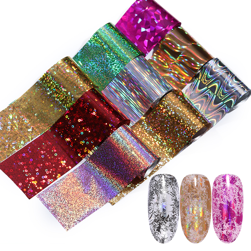 1Roll Holographic Nail Foils Sticker Colorful Transfer Stickers Mixed Patterns Art Decals Decoration Design