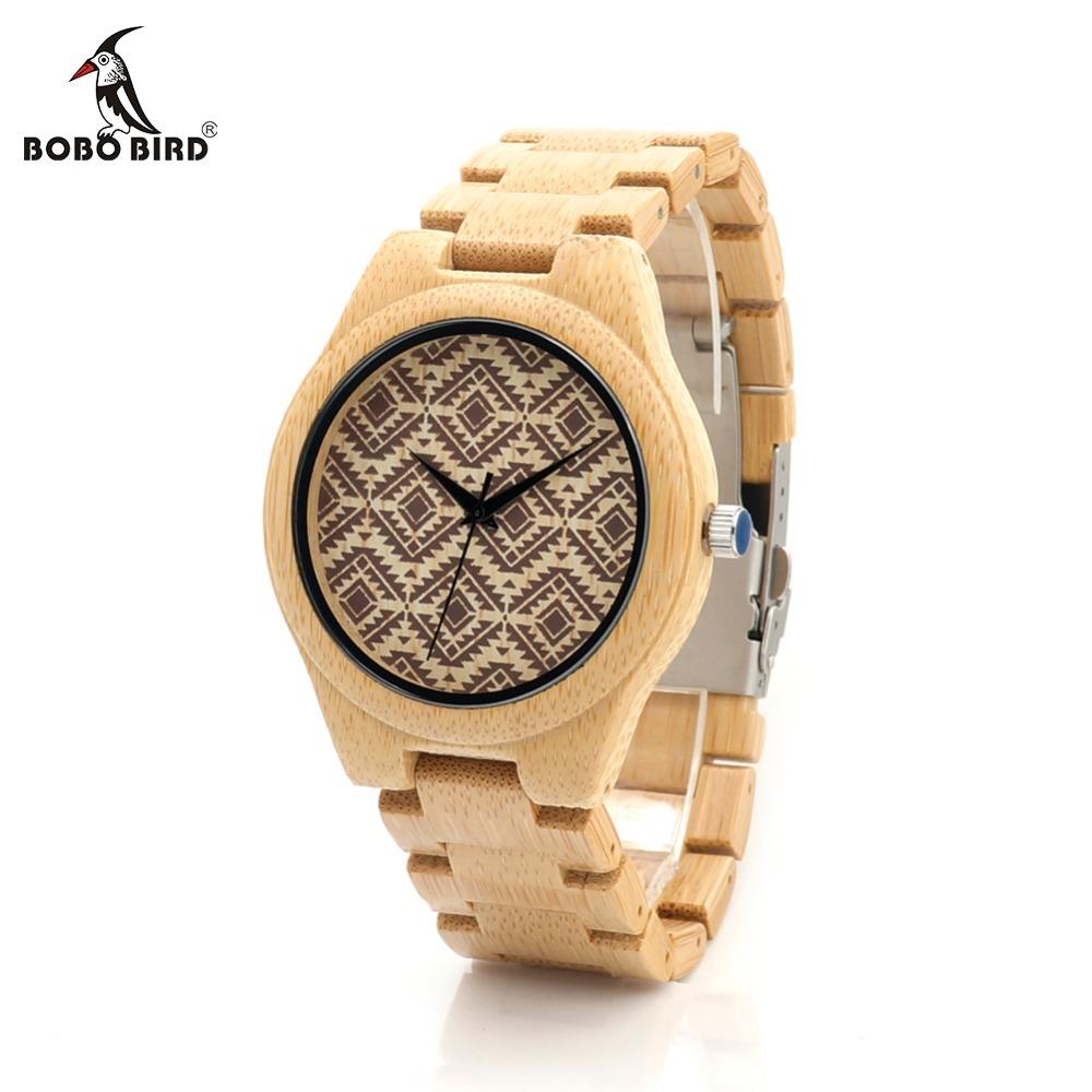 Prix pour Bobo bird i28 nature bambou mens montre lignes ondulées partten cadran Visage Bambou Bracelet Quartz Montre-Bracelet Comme Cadeau Relogio Accepter personnalisé