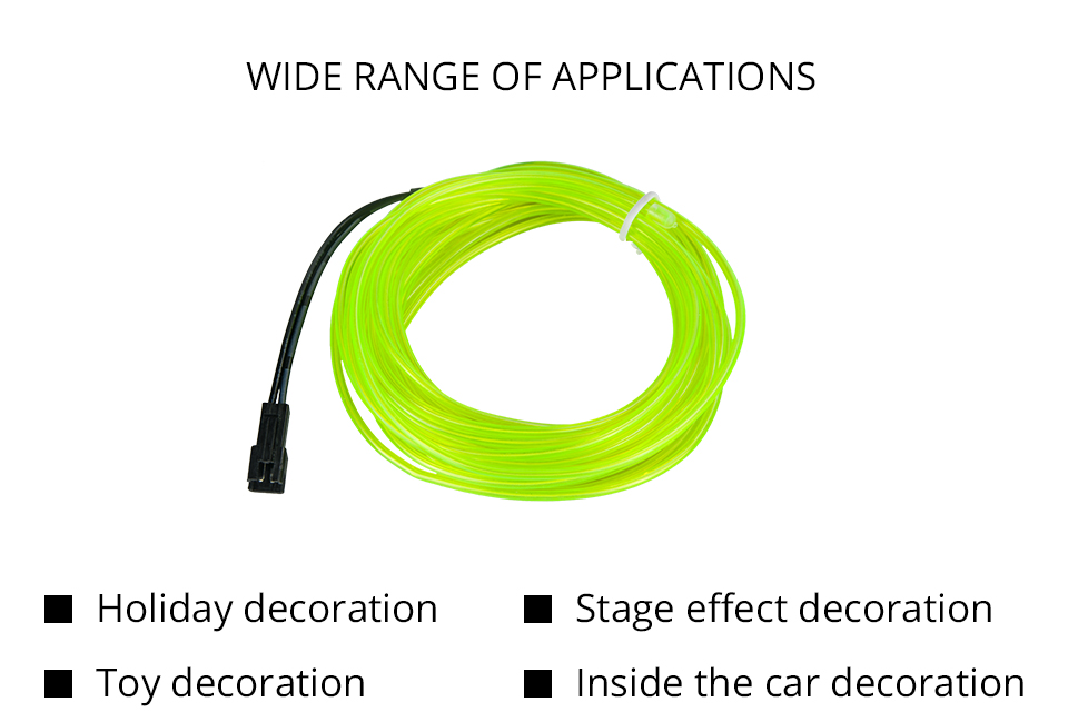 AcooSun 12V Led Car Atmosphere Lamp 1M 2M 3M Car Styling DIY EL Cold Line Flexible Auto Decoration Light For Motorcycle Trucks (3)