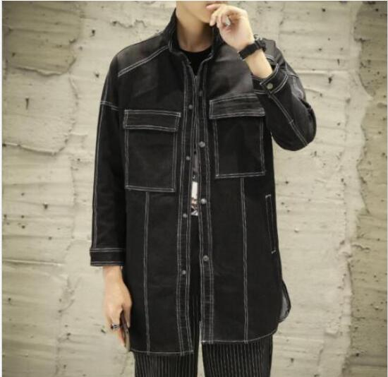 Mens Solid Color Big Pockets Medium-long Style Loose Fashion Coat   Trench   Coat Black Casual Outwear Male Plus Size 5XL