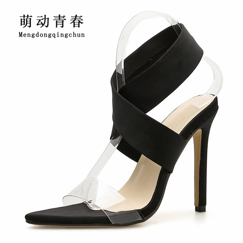 Sexy On Beige black Klar Sandalen Heels Slip Toe Stretch Neue Party Peep Pvc red Frauen Hohe Sommer Wrap Stoff Ankle Marke HpFS8w0Y