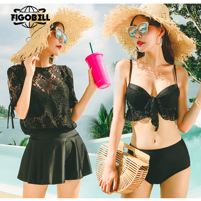 hot 2018 Sexy Solid New Patchwork Swimsuit Women Bandeau Swimwear Female Bikini Set Summer black/wihit bathing suit cover ups