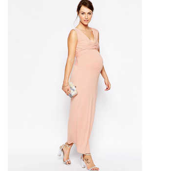 Summer V-Neck Maternity Maxi Dress Pregnant Women Long Evening Party Prom Dress Gown Nice Pregnancy Vestidos Maternity Clothes - DISCOUNT ITEM  30 OFF Mother & Kids