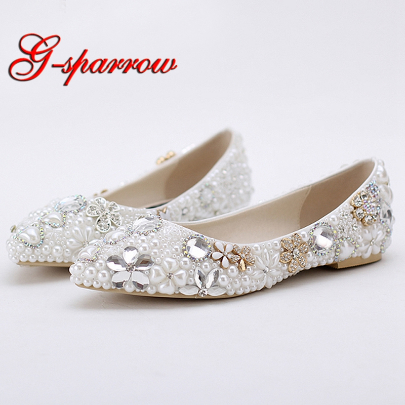 2018 Beautiful Flat Heel White Pearl Wedding Shoes Comfortable Crystal Bridal Flats Customized Mother of Bride Shoes Plus Size цена