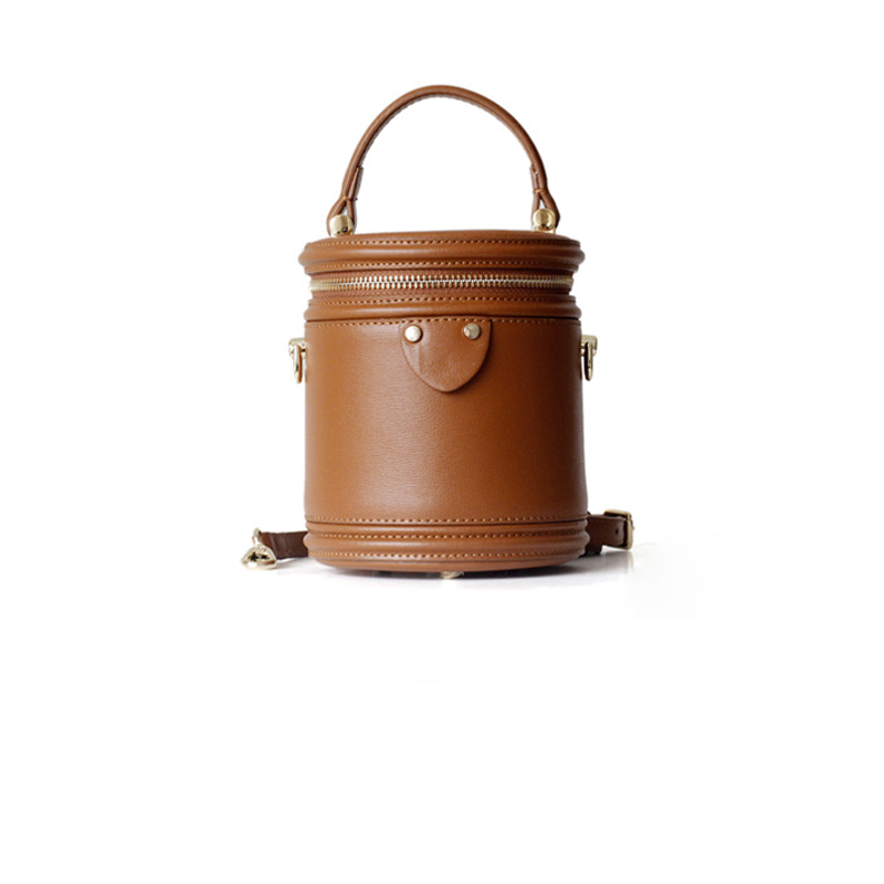 Bolso de mano de mujer de estilo famoso de diseño pequeño de cuero de vaca Real con forma de cubo bolso de mano para mujer-in Cubos from Maletas y bolsas    1
