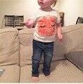 2017 Оптовая летняя мода хлопка младенца с коротким рукавом улыбка футболки babys топы